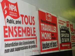 Posters for the NPA political party, October 25. Photo: Anne-Sophie Raujol