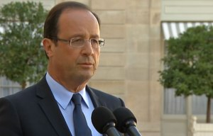 François Hollande speaking at the Elysée Sunday about the Arrests  Photo: Screen Shot: www.lejdd.fr