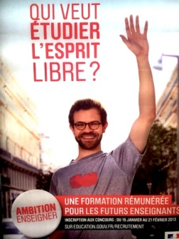 "Poster from the Paris Metro. ""Who wants to study with a free mind?""Photo: Marc Goetzmann"
