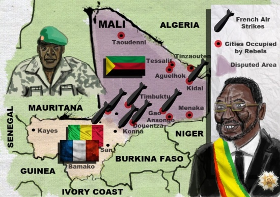 Map of the Mali Conflict. Illustration by Peter Ansell for La Jeune Politique.