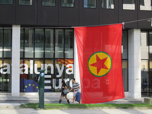 A PKK flag in Brussels. It is considered to be a terrotist  organization by the US and the EU.Photo: Flickr.com/Eoghan OLionnain