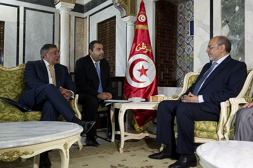United States Secretary of Defense Leon E. Panetta meets with Tunisian Prime Minister Hamadi Jebali in Tunis, Tunisia, July 29, 2012.Photo by Erin A. Kirk-Cuomo, some rights reserved by Secretary of Defense