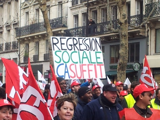 "Members of the FO Union marching in Paris, bearing such slogans as ""Social Regression That's Enough."" Photo: Eleni Zaras for LJP"