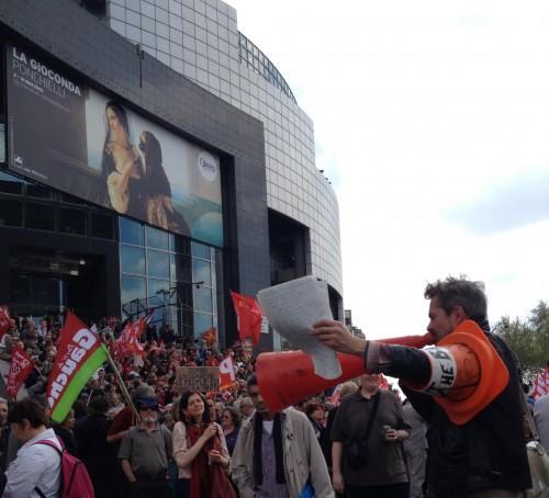 Protesters in Place de la Bastille. Photo: Eleni Zaras
