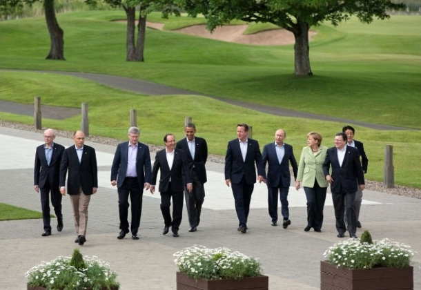 The eight leaders of the G8 nations, along with the Presidents of the European Council and European Commission, at Lough Erne, Northern Ireland. Photo: Pete Souza for Wikimedia Commons.