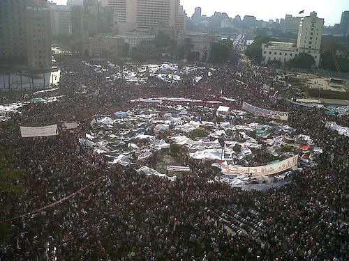 Tahir square in February 2011 where protests led to the fall of Mubarak. Photo: monasosh, flickr