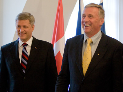 Canadian Prime Minister Stephen Harper and former European Union President Mirek Topolánek at the launch of trade negotiations in May, 2009. Photo: pmwebphotos for flickr.