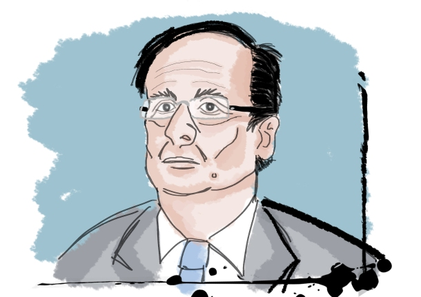 Hollande emphasized the importance of rural areas and the fight against racism in his New Years' speech.  Illustration by Peter Ansell for La Jeune Politique