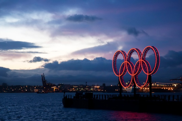 Prior to the London Games in 2012, French Presidents had been absent from four consecutive Olympic Games, including the Vancouver games. Above, the Olympic Rings in the Vancouver harbor. Photo: adrian8_8 for flickr.
